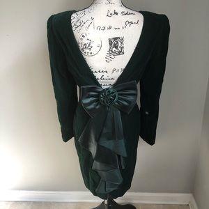 80s Prom Dress Velour Satin Plunge Back B43